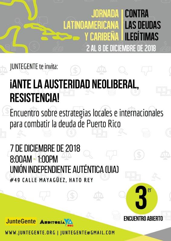 JunteGente invita al encuentro ¡Ante la austeridad neoliberal, resistencia!